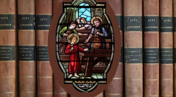 Vitrail de l'église de Maylis représentant St Joseph et Jésus travaillant le bois