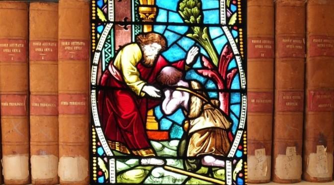 Vitrail représentant le retour du fils prodigue, abbaye de Maylis